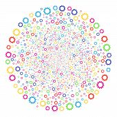 Colorful Cogwheel Carnival Round Cluster. Vector Globula Explosion Done With Scattered Cogwheel Symb poster