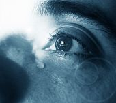 picture of bereavement  - Sad face with sorrowful eyes in tears - JPG