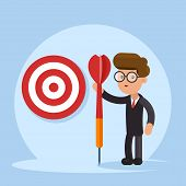 Purpose Business Concept. Purposeful Businessman With Spear In Hand Stands With The Target. Achievem poster