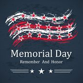 Memorial Day Background With Stars, Stripes And Lettering. Template For Memorial Day. Vector Illustr poster