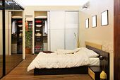 stock photo of wardrobe  - Modern bedroom interior with big wardrobe closet - JPG