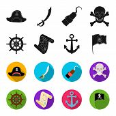 Pirate, Bandit, Rudder, Flag .pirates Set Collection Icons In Black, Flet Style Vector Symbol Stock  poster