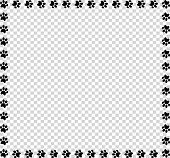 Square Frame Made Of Black Animal Paw Prints On Transparent Background. Vector Illustration, Templat poster