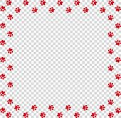 Square Frame Made Of Red Animal Paw Prints On Transparent Background. Vector Illustration, Template, poster