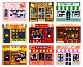Shop Window Vector Showwindow Of Book Store Or Candyshop And Window-case Of Pizzeria Illustration Se poster