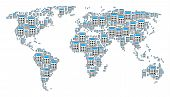 Global Geography Map Pattern Made Of Calculator Design Elements. Vector Calculator Items Are United  poster
