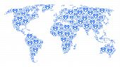 Continent Atlas Mosaic Composed Of Diamond Elements. Vector Diamond Pictograms Are United Into Conce poster