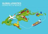 Global Logistic Isometric Vehicle Infographic. Ship Cargo Truck Van Logistics Service. Import Export poster