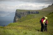 Couple kissing on Mykines, Faroe Islands