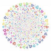 Multi Colored Diamond Salute Cluster. Vector Globula Explosion Designed With Scatter Diamond Items.  poster
