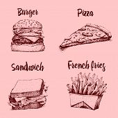 Cooking Collection, Fast Food. Pizza And Burger, French Fries, Chicken And Sandwich. Engraved Hand D poster
