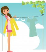Vector illustration of an ironing happy girl