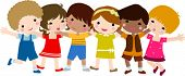 foto of nursery school child  - happy children hand in hand - JPG