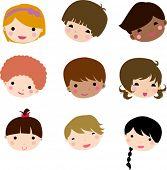 Set of cartoon children face vector