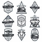 Retro Vehicle Club Emblems Set With Classic Automobiles Steering Wheel Motor Engine Pistons In Vinta poster