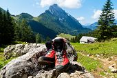 Walking shoes for hiking in the mountains