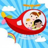 three kids piloting an airplane across the sky