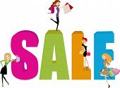 shopping girl and sale word