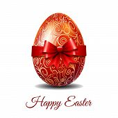 Easter Card With Bright Red Easter Egg Tied Of Red Ribbon With A Big Bow And Text Happy Easter. Eleg poster