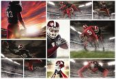 The Collage About American Football Players. The Football Player In Motion On The Field Of Stadium W poster