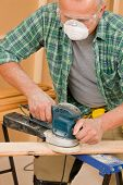 Handyman Sanding Wooden Board Diy Home Renovation