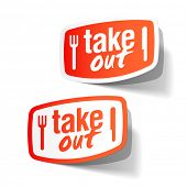 Takeout labels. Vector.