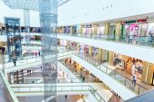 Abstract Mall, Multilevel Shopping Center, Blurred Focus. Mall Interior poster