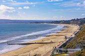 Scenic View Of Bournemouth Beach In Dorset, Uk poster