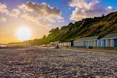 Bournemouth Beach Scene During Sunset In England poster