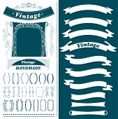 Vintage Hand Made Ribbon Set Isolated Vector Illustration. Retro Collection Of Page Divider, Border, poster