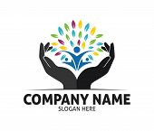 Hope Hand Charity Love Compassion Vector Logo Design poster