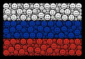 Russia National Flag Concept Done Of Glad Smile Design Elements. Vector Glad Smile Items Are Organiz poster