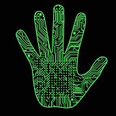 Silhouette Of A Man Hand With A High-tech Computer Circuit Board Pattern It Can Illustrate Scientifi poster