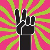 Peace Sign Hand Gesture Flat Vector Drawing. Illustration Of Stylized Hand Making The Classic Two Fi poster