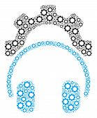Headphones Configuration Gear Composition Of Vector Gears. Vector Cogwheel Items Are Combined Into H poster