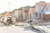 Blurred Abstract Wood Frame House Under Construction In Irving, Texas, Usa poster