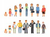 Man And Woman Characters In Different Ages In Cartoon Style. The Life Cycle Including Baby, Child, T poster