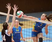 KAPOSVAR, HUNGARY - APRIL 24: Zsofia Harmath (3) strikes the ball at the Hungarian NB I. League woma