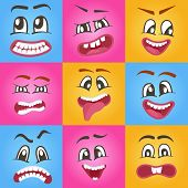 Emoji Characters Set With Different Expressions. Happiness, Anger, Joy, Fury, Sad, Playful, Fear, Su poster
