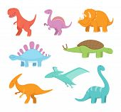 Cartoon Set Of Funny Dinosaurs. Vector Pictures Of Prehistoric Period. Dinosaur Prehistoric, Animal  poster
