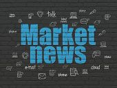 News Concept: Painted Blue Text Market News On Black Brick Wall Background With  Hand Drawn News Ico poster