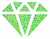 Diamond Mosaic Of Filled Circles In Variable Sizes And Ecological Green Color Hues. Vector Filled Ci poster