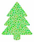 Fir-tree Mosaic Of Filled Circles In Different Sizes And Ecological Green Color Tinges. Vector Fille poster
