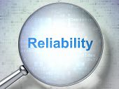 Business Concept: Magnifying Optical Glass With Words Reliability On Digital Background, 3d Renderin poster