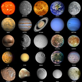 picture of uranus  - All of the planets that make up the solar system with the sun and prominent moons included - JPG