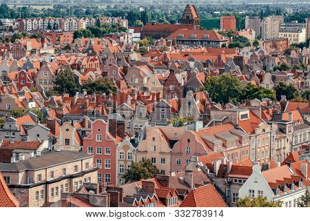 poster of Top view of Gdansk old town with reddish tiled roofs of old town in Gdansk, Poland