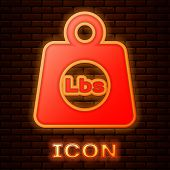 Glowing Neon Weight Pounds Icon Isolated On Brick Wall Background. Pounds Weight Block For Weight Li poster