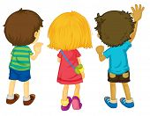 Illustration of 3 kids with backs facing - EPS VECTOR format also available in my portfolio.