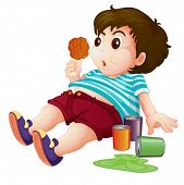 stock photo of fat-guts  - Illustration of a full fat kid  - JPG