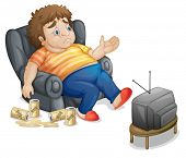 Fat and unhealthy man watching tv - EPS VECTOR format also available in my portfolio.